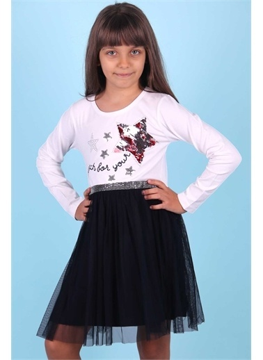 Breeze Kız Çocuk Uzun Kollu Elbise Pullu Yıldızlı Lacivert (5-10 Yaş) Lacivert